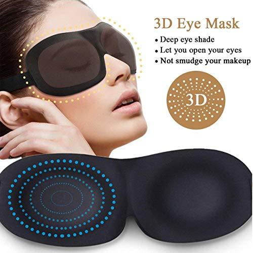 Sleep Mask (2 Pack), Upgraded Deeper 3D Contoured Eye Mask for Sleeping, Travel, Nap, Shift Work, No Pressure Light Blocking Eyeshade Night Blindfold with Adjustable Strap for Man, Women, Black by MINGTONG (Image #1)