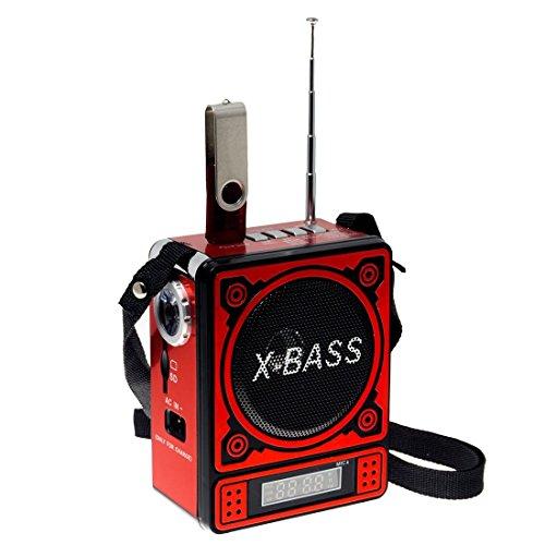 Mobiler Lautsprecher mit FM Radio USB SD LED Display Akku (Rot)