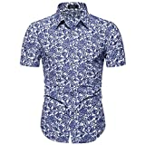 Men's Casual Short Sleeve Shirts Hawaii Printed Turn-Down Collar Button Slim T-Shirt Tops