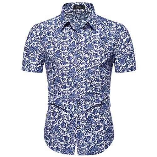 Rocker Henley - Men's Casual Short Sleeve Shirts Hawaii Printed Turn-Down Collar Button Slim T-Shirt Tops Blue