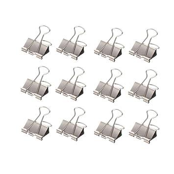 60 St/ück FoldBack Klemmen Papier Metall Binder Clips f/ür Notizen Briefpapier Clip B/ürobedarf,15 MM