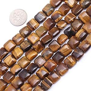 10mm Square Gemstone Yellow Tiger Eye Beads Strand 15 Inch Jewelry Making Beads