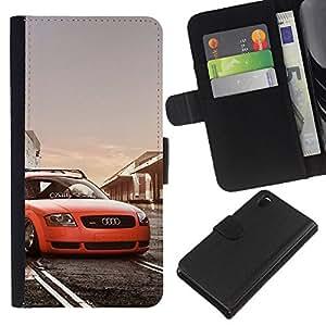 OREGON-X (No Para Z3 plus+ / Z3 compact) Foto Ranura Tarjeta Cuero Ranura Tarjeta Voltear Duro Funda TPU Carcasas Para Smartphone Sony Xperia Z3 D6603 / D6633 / D6643 / D6653 / D6616 postura low rider coche tt