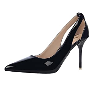 Roger Lee Woman Patent Leather Slimming Sharp Top High Hollow Heel Stiletto Sandal Shoes (5, Black)