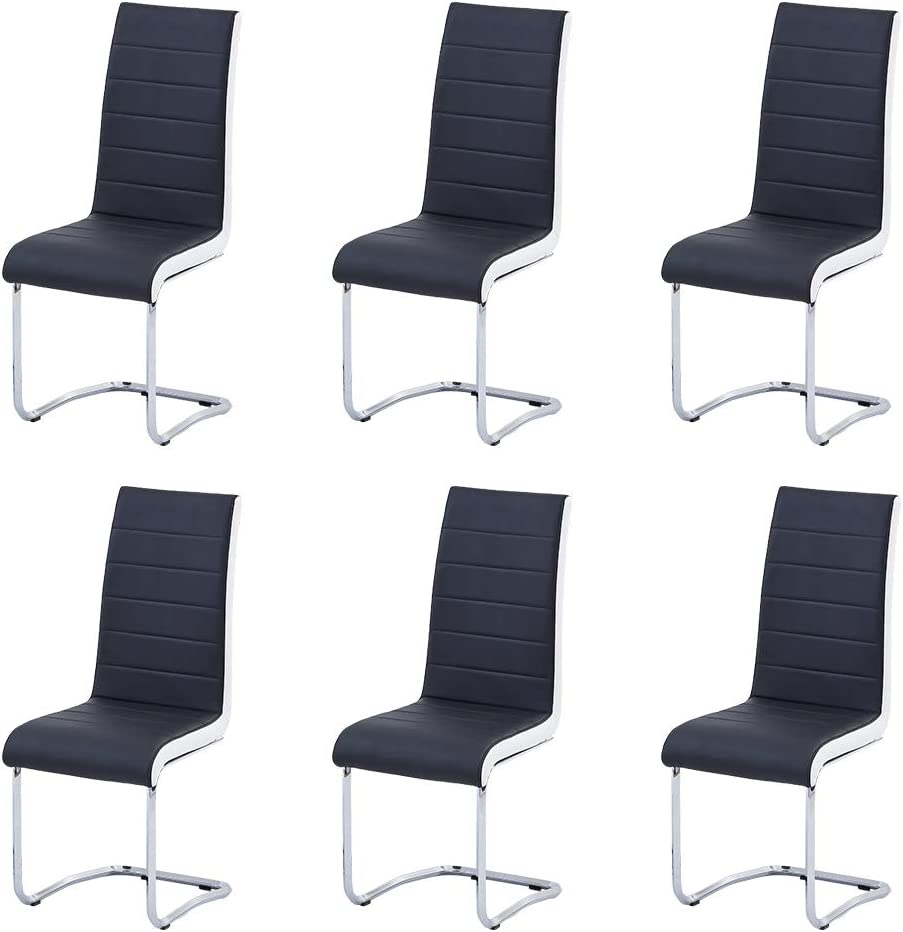 Enjowarm Dining Chairs Set of 12 Black White Sides Faux Leather Modern Black  Kitchen Chairs Metal Chrome Legs High Back Dining Chair Dining Room Chairs