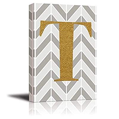 Handsome Composition, The Letter T in Gold Leaf Effect on Geometric Background Hip Young Art Decor, Classic Design