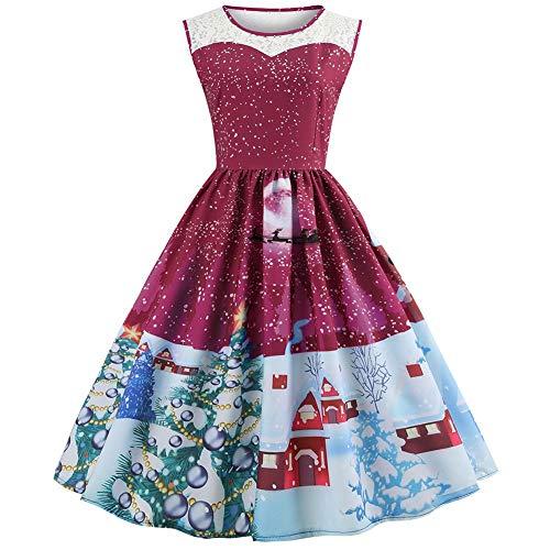 Su Vestido Generoso Fiesta Rodilla Y Manga luoyu Dibujos Rojo Hermoso Mujer Malla De Navidad Impresión Animados Corta Costura YqAWpRYrwx