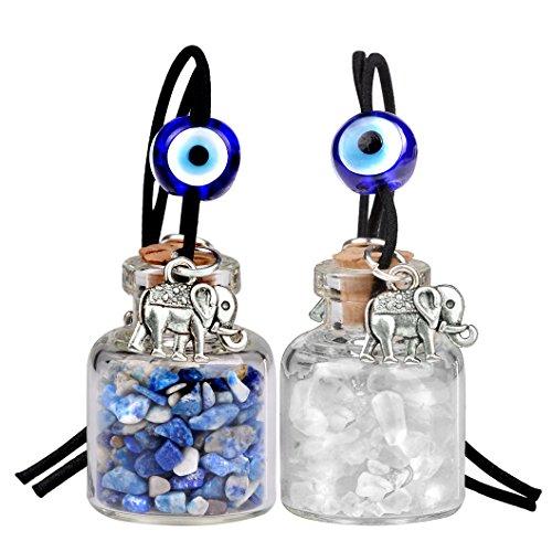 Lucky Elephants Magic Small Car Charms or Home Decor Gem Bottles Lapis Lazuli Quartz Protection - Elephant Car Charm Lucky