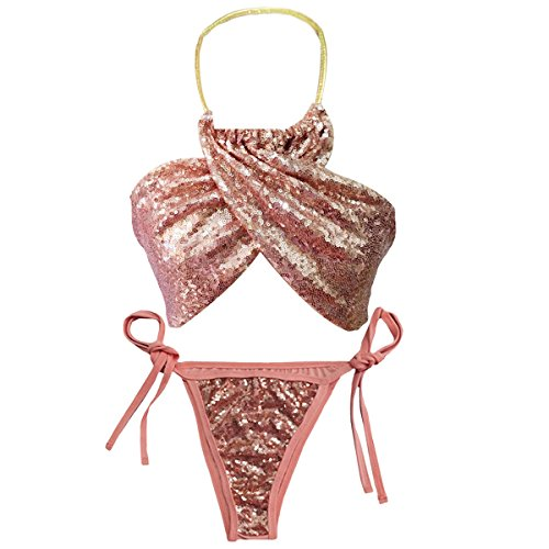 AiSi Paillettes Blingbling Bikini Licou Bandage Bandeau Push-up Triangle String Maillot de Bain Femme 2 Pièces