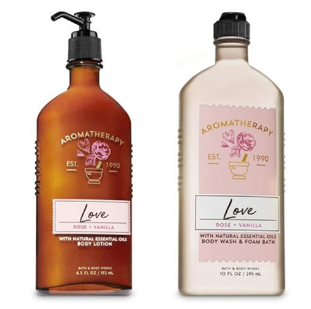 BATH AND BODY WORKS Aromatherapy LOVE - ROSE & VANILLA Duo Body Lotion and Body Wash Full Size by Bath & Body Works