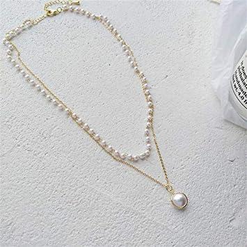 AEM Fashion Personalidad nicho contraído diseño de Cadena de Cuello Collar de Doble Cadena Mujeres Dulce clavícula de Perlas, Color Dorado