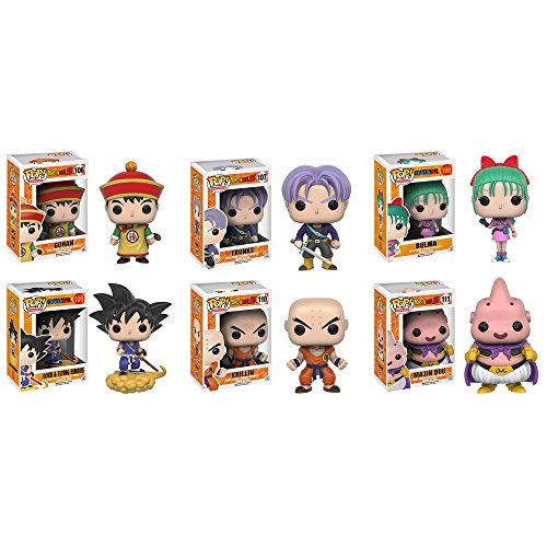 Dragon Ball Buu (Dragon Ball Z Gohan, Trunks, Bulma, Goku and Nimbus, Krillin, Majin Buu Pop! Vinyl Figures Set of 6)