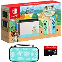 2020 Newest Special Edition, Nintendo Switch Animal Crossing: New Horizons, Internal Storage 32GB, Bundle Woov Animal Crossing Leaf Travel Carry Sleeve Case & Micro SD 128 GB