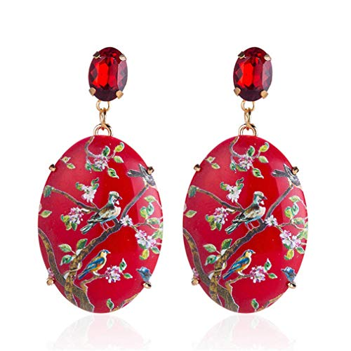 Flower Earrings Painted - andy cool Premium Quality Long Geometric Acrylic Pendant Earrings Rhinestone Dangle Drop Hand Painted Flowers Earrings,Red