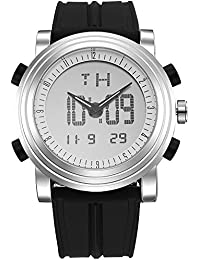 Analog - Digital Mens Sport Watch Quartz Electronic Watch with Alarm Stopwatch LED Backlight and Rubber Strap (Black and Silver)