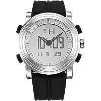 SINOBI Analog - Digital Mens Sport Watch Quartz Electronic Watch with Alarm Stopwatch LED Backlight and Black Rubber Strap (Black)