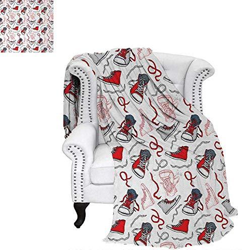 (Custom Design Cozy Flannel Blanket Sport Shoes Sneakers Hobby Casual Fashion Teenage Old School Illustration Weave Pattern Blanket 90