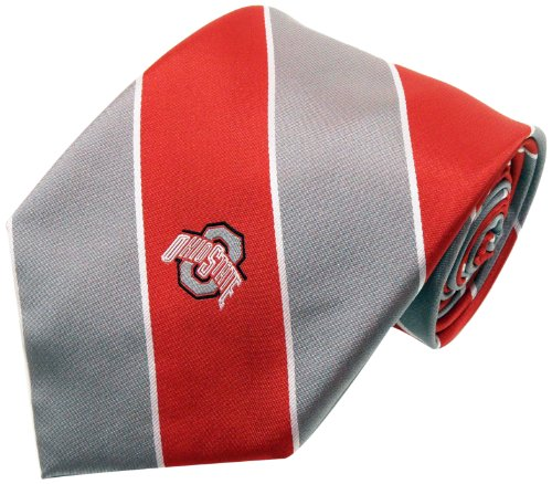 NCAA Men's Ohio State Buckeyes Striped Necktie, Scarlet/Grey
