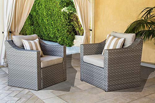Solaura Patio Outdoor Furniture 2 Piece Additional Single Chairs Grey Wicker Light Grey Olefin Fiber Cushions with Striped Pillows ()
