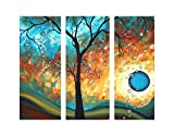Ode-Rin Hand Painted Oil Paintings Fantastic Bubble Trees 3 Panels Wood Framed Inside For Living Room Art Work Home Decoration Picture