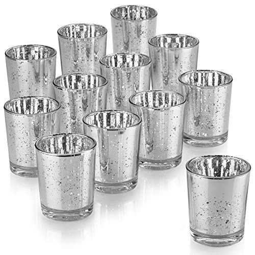 PARNOO Mercury Glass Candle Holders for Votive Candles and Tealights Set of 12 - Sparkled Silver Finish Perfect for Wedding and Home Decor