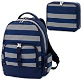 Greyson Navy Blue Grey Striped 2 Piece Polyester Zippered Backpack & Lunch Box Bag Set
