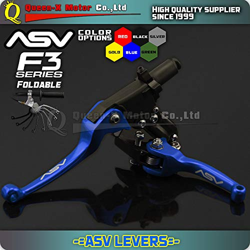 F3 Series Brake Lever - Brakes Queen-X Blue Alloy Levers ASV F3 Series 2Nd Clutch & Brake Folding Lever Modify Parts Motorcycle ATV Dirt Pit Bike Wr Yz YZF Wrf - (Color: Green)
