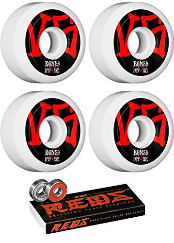 Bones Wheels 52mm STF V5 Annuals ホワイトスケートボードホイール ボーンベアリング付き - 8mm ボーン レッド 精密スケートボードベアリング - 2個セット   B07JW9HBM4