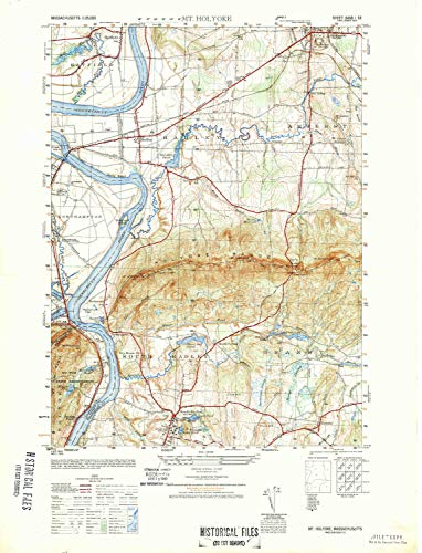 YellowMaps Mt Holyoke MA topo map, 1:25000 Scale, 7.5 X 7.5 Minute, Historical, 1948, 28.9 x 22 in - Tyvek