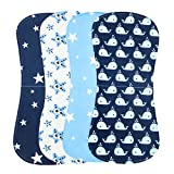 Burp Cloths Boys Girls - Absorbent and Soft Baby Burp Clothes Set 4 Pack (Boys)