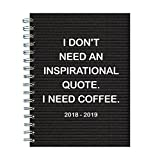 "TF Publishing 19-9057A July 2018 - June 2019 Need Coffee Medium Weekly Monthly Planner, 6.5 x 8"", Black & White"