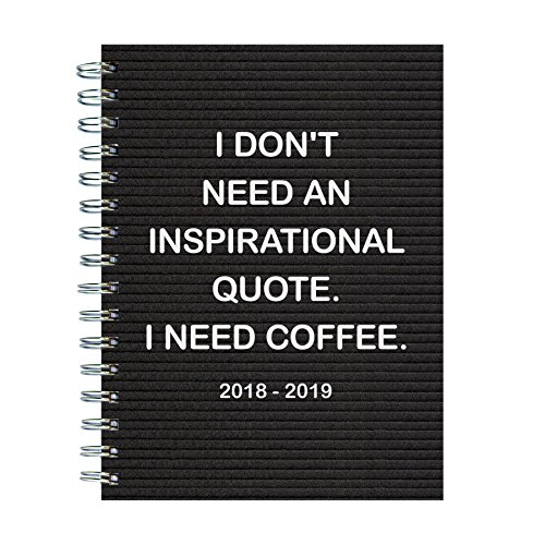 TF Publishing 19-9057A July 2018 - June 2019 Need Coffee Medium Weekly Monthly Planner, 6.5 x 8'', Black & White by TF Publishing