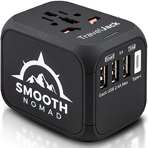 International Travel Adapter – Wall Charger 3 USB Ports +1 Type C – Fuse Protection from Surge – Universal Power Adapter…