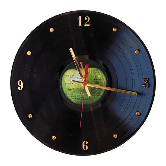 THE BEATLES Vinyl Record Clock (Apple Label) - Any one of the following albums are used: Abbey Road, Beatles 1962-1966, Beatles 1967-1970, or The White Album. Fun and unique gift for birthday's, thank you's, holidays, teachers... Clock is shipped in a box surround by thick foam padding. - wall-clocks, living-room-decor, living-room - 51WBLwjHj5L. SS570  -