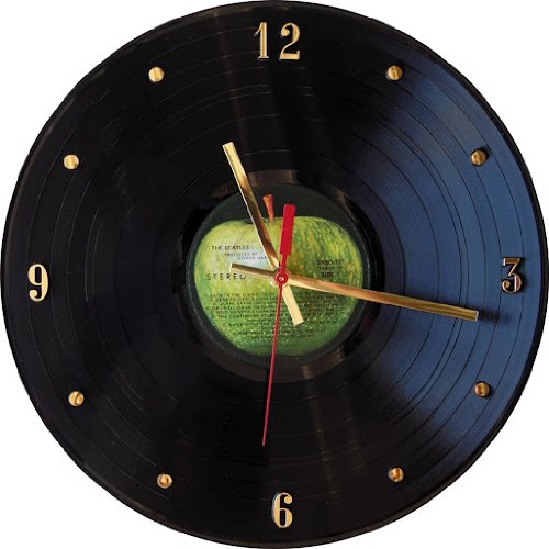 51WBLwjHj5L - THE BEATLES Vinyl Record Clock (Apple Label)