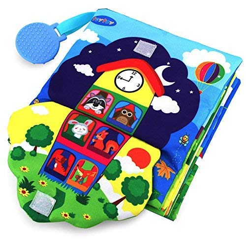 teytoy Baby Soft Activity Books 3D Big Early Learning Basic Life Skills Book - Zip, Button, Buckle, Lace, Crinkle 3D Touch Fabric Book My First Book with Turquoise Silicone Teether BPA-Free for 0-36