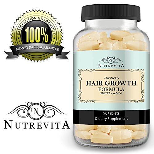 La croissance des cheveux Vitamines - Avec Extra Strength biotine - Supplément Pour épais, plus long, à croissance rapide Vibrant cheveux -Meilleure pour hommes et femmes - 90 pilules puissantes approvisionnement Jour 30 - jours garantie de remboursement