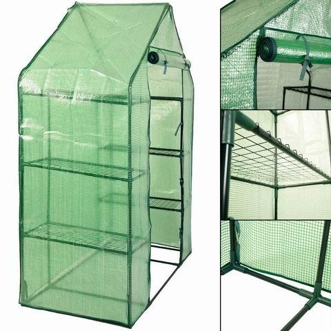 Goplus Portable Greenhouse 8 Shelves Mini Walk in Outdoor Green House 4 Tier w/PE Cover for Garden Patio Backyard (56'' ×29'' × 77'')