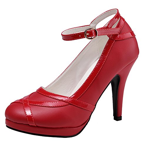 Dress Red Buckle getmorebeauty and High Heels White Retro Black Ankle Strappy Womens Vintage HHwz1p