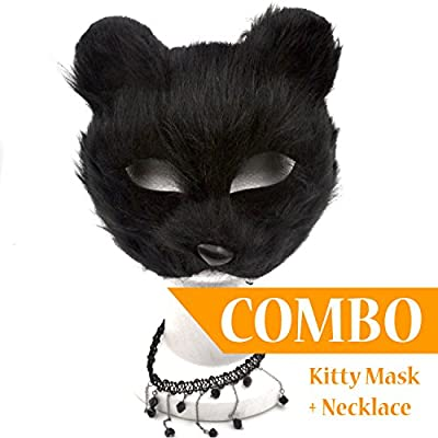 Black Cat Sexy Mask with Black Necklace [COMBO] - Great for a 2017 Halloween Costume