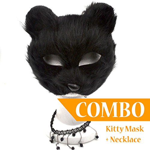 Black Cat Sexy Mask with Black Necklace [COMBO] - Great for a 2017 Halloween (Great Costumes For Halloween 2017)