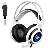 SADES SA905 USB PC Gaming Headset Headphones with Microphone Mild Vibration and Spot LED Light (Black and White)
