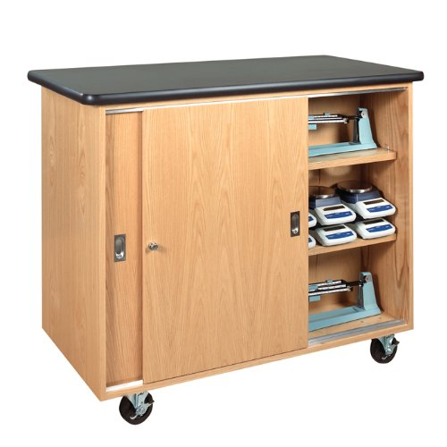 Diversified Woodcrafts 5201K Solid Oak Wood Mobile Balance Storage Cabinet with Swivel Casters and Plastic Laminate Top, 48'' Width x 40'' Height x 24'' Depth