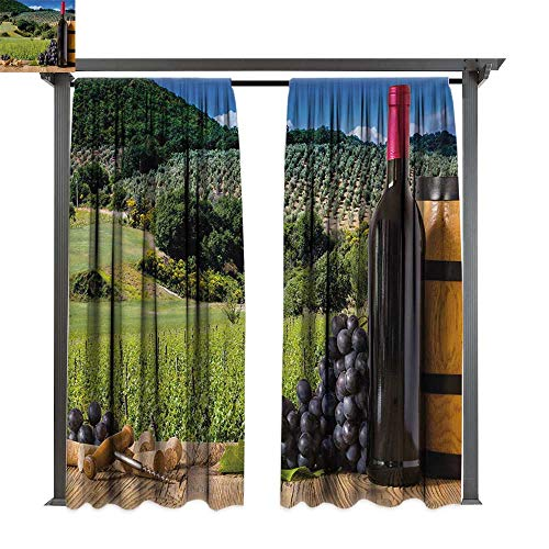 bybyhome Outdoor Door Curtain Wine Idyllic Tuscany Country Landscape Agriculture Harvest Grape Plantation W72 xL108 Suitable for Front Porch,pergola,Cabana,Covered Patio