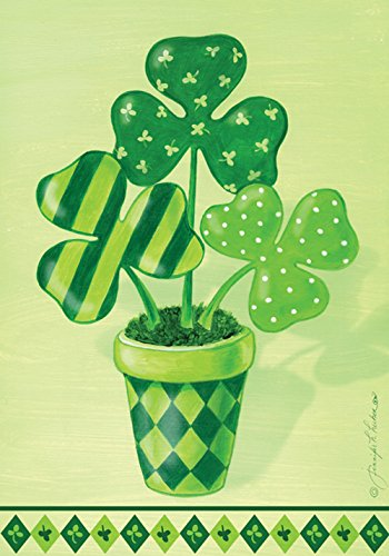 (Toland Home Garden Pot o' Shamrocks 12.5 x 18 Inch Decorative St Patrick's Day Green Shamrock Clover Garden)
