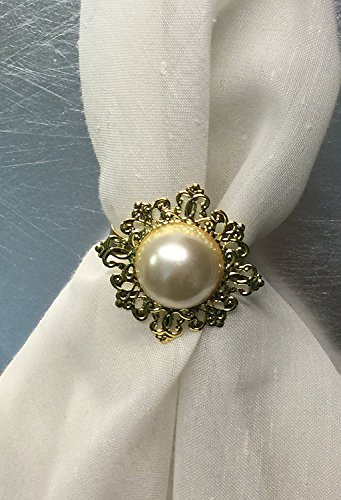 Set of 6 - Gemstone Styled Napkin Rings - Perfect for Your Table Decor (Pearl Gold)