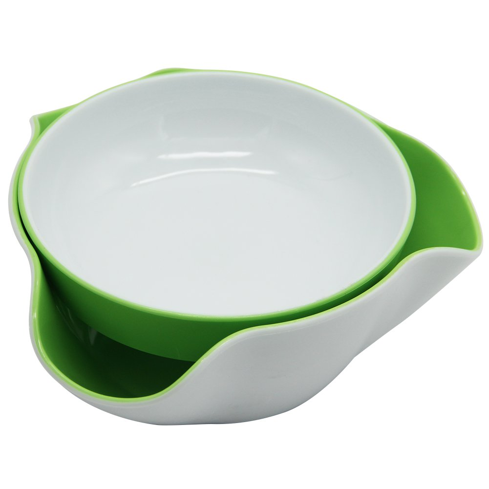 Maggift Green & White Double Dish Snack Bowls for Serving Shelled Nuts,Beans,Candy,Fruits and Salads (Green & White) by Maggift (Image #1)