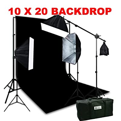 ePhoto Large 10 x 20 Black Muslin Backdrop Support Stands and 2400 Watt 3 Softbox photography Boom Hair lighting Kit Case H9004SB21020B by Ephotoinc