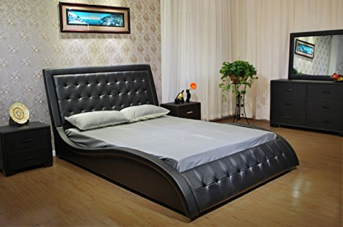 Greatime B1136-2 Queen Size Black Color Wave-like Shape Faux Leather Platform Bed, with Euro Curved Slats
