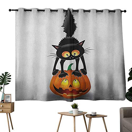 NUOMANAN Customized Curtains Halloween,Black Cat on Pumpkin Drawing Spooky Cartoon Characters Halloween Humor Art, Orange Black,Blackout Draperies for Bedroom 42